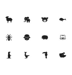 set of 12 editable zoology icons includes symbols vector image