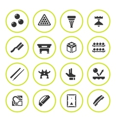 Set round icons of billiards snooker and pool vector image