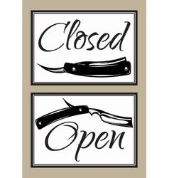 Set vintage door signs for barber shop vector