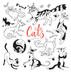set with playing cats of different breeds vector image
