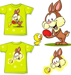 Shirt with cute easter design - bunny an chicken vector