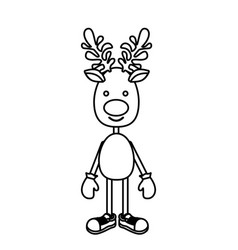 Silhouette reindeer standing with gloves and shoes vector