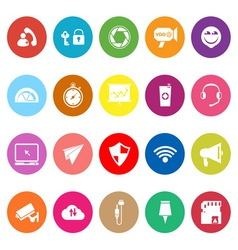 Smart phone screen flat icons on white background vector image