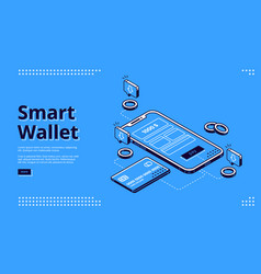 smart wallet isometric landing page web banner vector image