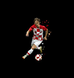 soccer player dribbling ball polygonal vector image
