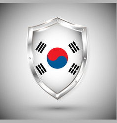 south korea flag on metal shiny shield vector image