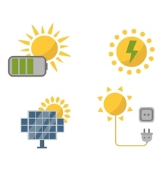 Sun solar energy set vector image