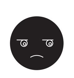 suspicious emoji black concept icon vector image