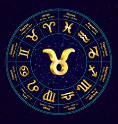 taurus in circle vector image