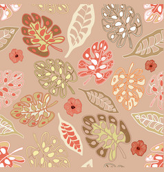 Teal print tropical floral pattern background vector