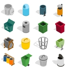 Trash bin icons set isometric 3d style vector image