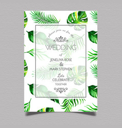 tropical wedding invitation card vector image