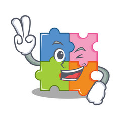 Two finger puzzle character cartoon style vector
