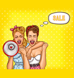 two pop art girls are reporting a sale vector image
