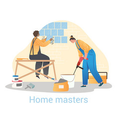 two workers renovating apartment vector image