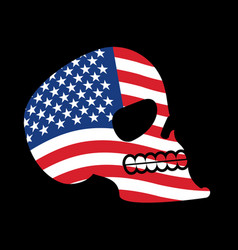 usa skull head of skeleton and flag of america vector image