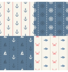 Vintage flat design modern nautical marine patt vector