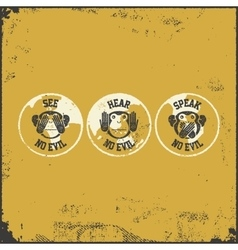 Wise monkey poster vector