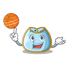 With basketball character baby bib for feeding vector