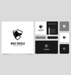 wolf head and shield logo design vector image