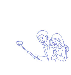 young man woman couple taking selfie camera photo vector image