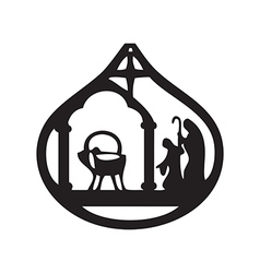 Adoration of the Magi silhouette icon on white vector image vector image