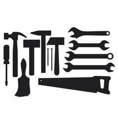 black silhouettes of hand tools vector image vector image