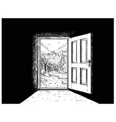 Cartoon of door to nature freedom vector