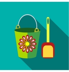 Children s toy pail with shovel in blue-green vector image vector image
