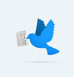 flat blue bird with newspaper social media vector image
