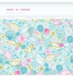 Seashells line art horizontal torn seamless vector image