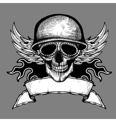 Vintage skull grunge biker motorcycle label vector image vector image