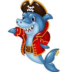 Cartoon shark pirate presenting isolated vector image vector image