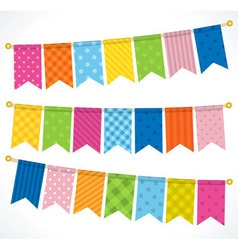 Color bunting flags vector image
