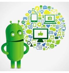 Funny green robot with social media concept vector
