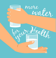 Glasses with water in hands vector