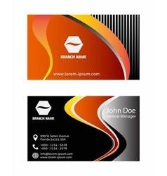 Orange business card design vector image vector image