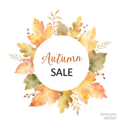 watercolor sale frame of leaves and vector image vector image