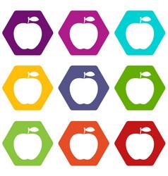 apple icon set color hexahedron vector image vector image
