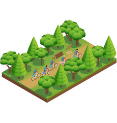 Camping Hiking Isometric Composition vector image vector image