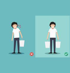 improper versus against proper lifting vector image