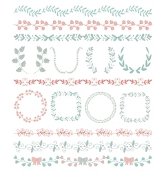 Colorful Hand Sketched Seamless Borders Frames vector image vector image