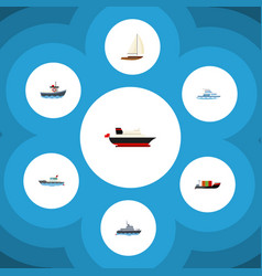 flat icon vessel set of tanker transport yacht vector image vector image