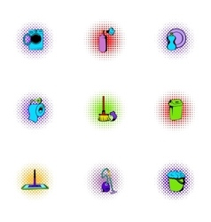 House cleaning icons set pop-art style vector