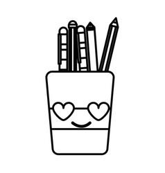 line tools cup in love kawaii cartoon vector image vector image