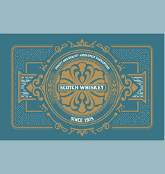 Liquor label western style vector