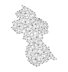 map of guyana from polygonal black lines and dots vector image