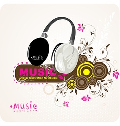 Music Background with Headphone Design vector image