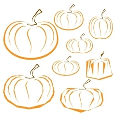 outline pumpkins set on white background vector image vector image