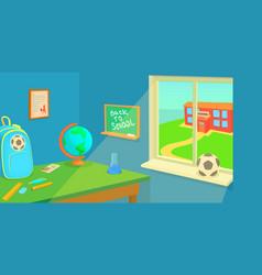 school room horizontal banner cartoon style vector image